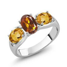 1.50 Ct Oval Orange Red Madeira Citrine Yellow Citrine 925 Sterling Silver Ring