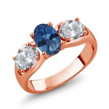 1.80 Ct Royal Blue Mystic Topaz White Topaz 18K Rose Gold Plated Silver Ring