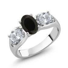 1.80 Ct Oval Black Onyx White Topaz 925 Sterling Silver Ring
