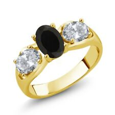 1.80 Ct Oval Black Onyx White Topaz 18K Yellow Gold Plated Silver Ring