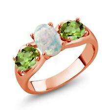 1.63 Ct Oval White Simulated Opal Green Peridot 18K Rose Gold Plated Silver Ring