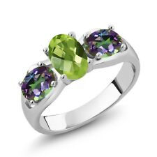 1.85 Ct Oval Checkerboard Green Peridot Green Mystic Topaz 925 Silver Ring