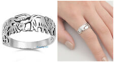 Sterling Silver 925 PRETTY WALKING ELEPHANTS DESIGN SILVER RING 8MM SIZES 5-10