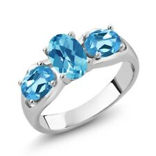 1.95 Ct Oval Checkerboard Swiss Blue Topaz 925 Sterling Silver Ring