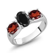 2.07 Ct Oval Black Sapphire Red Garnet 925 Sterling Silver Ring