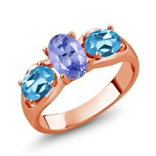 1.75 Ct Oval Blue Tanzanite Swiss Blue Topaz 18K Rose Gold Plated Silver Ring