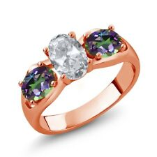 1.95 Ct Oval White Topaz Green Mystic Topaz 18K Rose Gold Plated Silver Ring