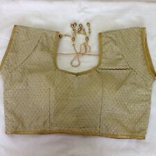 Indian Brocade Golden Blouse Readymade Designer Choli top Saree size 40