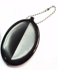 Black Soft Oval Rubber Squeeze Coins Holder Keychain Money Change Purse party