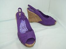 Size 5 purple peep toe platform wedges from South