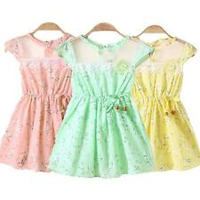 Sweet Girls Baby Infant Floral Dress Beading Sleeveless One-Piece Sundress N5J8