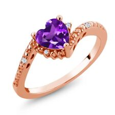0.69 Ct Heart Shape Purple Amethyst White Topaz 18K Rose Gold Plated Silver Ring