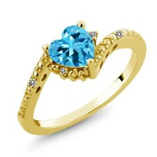 0.98 Ct Heart Shape Swiss Blue Topaz White Diamond 18K Yellow Gold Ring