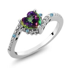 0.97 Ct Heart Shape Mystic Topaz Swiss Blue Simulated Topaz 18K White Gold Ring