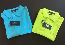NEW Polo Ralph Lauren Men Mesh Cotton Custom Fit Shirt Blue Lime M L XL XXL NWT