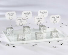 Silver Glitter Cube Place Card Photo Holder Bridal Wedding Favor 24 48 72 96