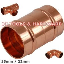 15/22mm Solder Ring Copper Elbows Straights Equal Tee CHOOSE SIZE & QUANTITY