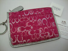 NWT Coach Skinny Mini Coin Purse ID Holder Key Ring Lurex OP Art Signature