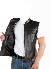 Motorcycle Leather vest Cowl Motorcycle Biker leather vest black S-7XL