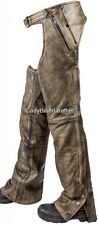 Mens LADIES BIKER Black PREMIUM Leather MOTORCYCLE CHAPS Over Pants TAPERED LEG