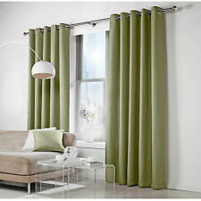 Ready Made Woven Linen Effect Lined Eyelet Curtains Pair - Green
