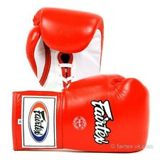 Fairtex Lace-Up Boxing Gloves - Red