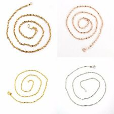 "18k White Yellow Rose Gold Filled Necklace Slim 18""Chain Link GF Fashion Jewelry"