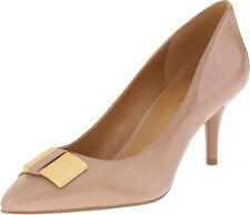 NINE WEST MANEY BLUSH TAUPE NUDE LEATHER POINTED TOE GOLD HARDWARE DETAIL PUMPS