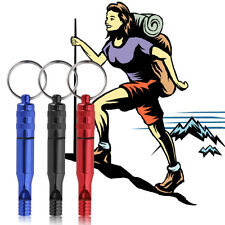 Aluminum Alloy Emergency Survival Whistle Outdoor Hiking Keychain Multicolor SL