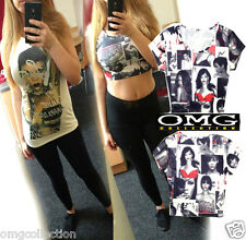 WOMENS LADIES RIHANNA UNAPOLOGETIC MULTI FACE PRINT CROP TOP VEST TANK T-SHIRT