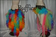 Feather skirt bustle Rainbow multi colours pride Burlesque Moulin Rouge Festival
