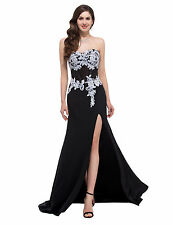 Applique Women Formal Evening Wedding Party Gown Prom Cocktail Split Dresses