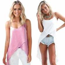Women's Long Vest Tank Irregular Hem Cami Dress Summer Beach Bikini Cover Blouse