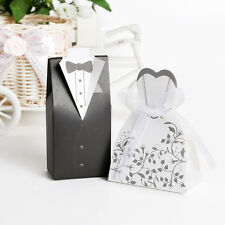 100/200pcs Wedding Favor Candy Box Bride&Groom Dress Tuxedo Party w/ Ribbon