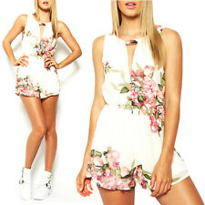 Women Sexy Chiffon Floral  Sleeveless Romper Playsuit Jumpsuit Bodycon Trousers