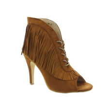 Womens REAL SUEDE Tassel Fringe Ankle Boots Shoes Peep toe Lace Up Stiletto New