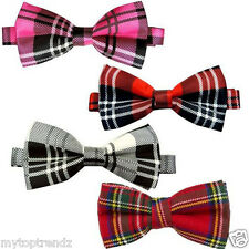 Mens Tartan Dickie Bow Tie Stewart Red  Tartan BowTie Pre Ties Adjustable
