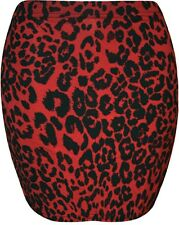 NEW LADIES RED BLACK LEOPARD PRINT SHORT MINI STRETCHY JERSEY BODYCON SKIRT