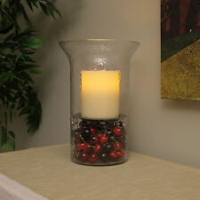 Pacific Accents Camden Glass Lamp Fillable Hurricane with Flameless LED Candle