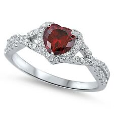 Sterling Silver 925 HEART LOVE KNOT GARNET CLEAR CZ PROMISE RING 8MM SIZE 4-12