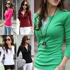 Women New Casual Slim Long Sleeve Thin Button Cotton T-Shirts Tops Autumn Blouse