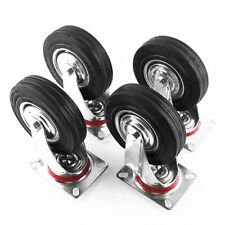 4x Swivel Casters Wheels Heavy Duty Rubber Trolley Furniture Handcart  DIY Brake