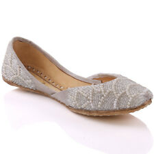 UNZE GIRLS 'JODIE' FLAT LEATHER INDIAN KHUSSA SHOES UK SIZE 1-13 SILVER