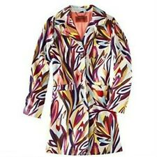 NEW! Authentic Missoni Trench Coat Jacket Floral Colore Fully Lined Orange Satin