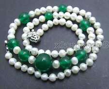 """SALE Small 5-6mm Round Natural White pearl & 6-12mm green jade 17"""" Necklace-5918"""