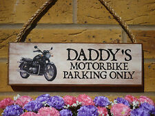 PERSONALISED MOTORBIKE SIGNS OWN NAME SIGN PARKING SIGN DADS GIFTS FOR DADS SIGN
