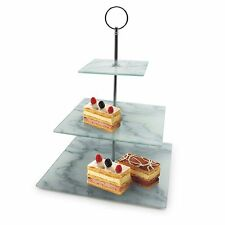 3 Layer Square Marble Looking Cake Stand Food/Tea Presentation Plate Handle Gift