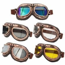 MOTORCYCLE STEAMPUNK HALF HELMET FLIGHT AVIATOR EYEWEAR GLASSES GOGGLES Copper
