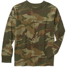 Faded Glory Boys' Long Sleeve Camo Crew Neck T-Shirts: XS-XL
