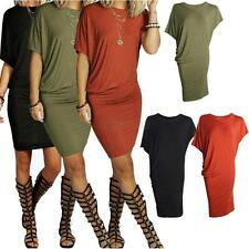 Women Sexy Short Sleeve Casual Party Tunic Mini Dresses Shirt Dress Tops Bodycon
